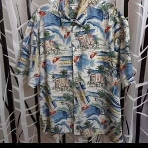 Pierre Cardin Short Sleeve Button Up Hawaiian Shir